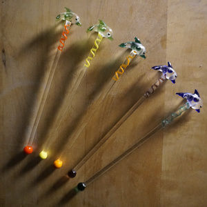 5 glass dolphin stir swizzel sticks EUC